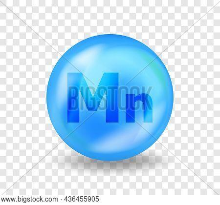 Mineral Mn Manganese. Medicine Drug Nutrition Advertising. Vitamin Complex Illustration Concept.