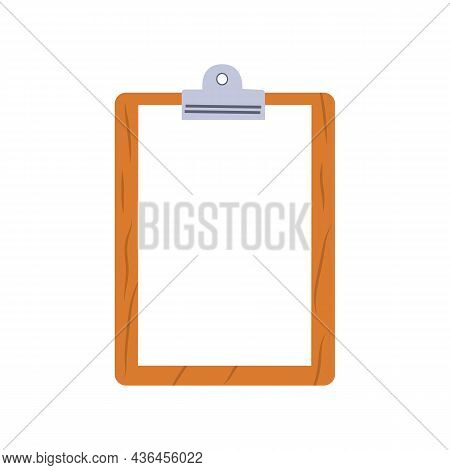 Blank Clipboard Clipboard With Blank White Paper Sheet For Mockup. Notepad Information Board. Vector