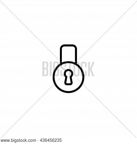 Padlock Line Icon On White Background. Padlock Line Icon On White Background.
