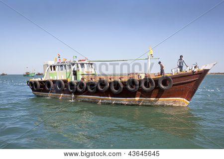Empty Ferry Boat With Crew India