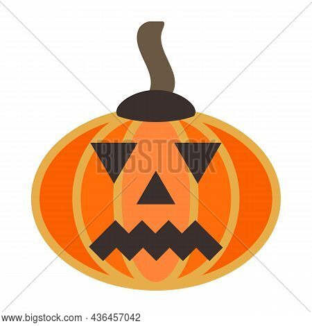 Large, Smooth, Oval-shaped Fleshy Pumpkin. Orange Squash With Stalk. Autumn Halloween Or Pumpkin For