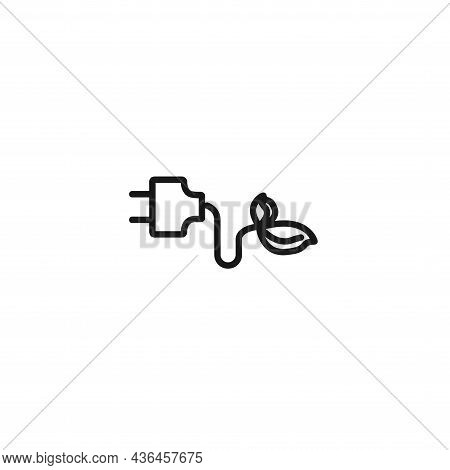 Green Plug Power Consumption. Alternative Energy Line Icon
