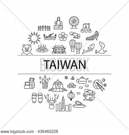 Culture Of Taiwan Circle Layout With Outline Icons And Text Headline. Taiwanese Items. Elements For