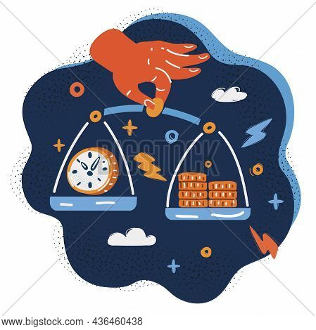Vector Illustration Of Mechanical Scales With Dollar Coin And Clock. Time And Money Balance. Justice