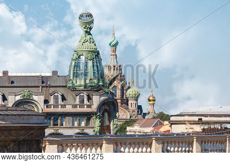 Close Up Aerial Photo Of Domes Of The Singer House And Domes Of The Cathedral Of The Savior On Spill