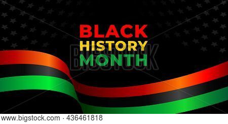 Black History Month. Vector Web Banner, Poster, Card For Social Media, Networks. Pan-african Flag An