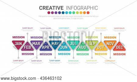 Infographics Element Design For All Month, Can Be Used For Business Concept With 12 Options, Steps O