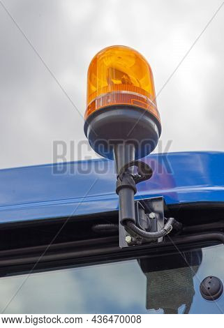 Rotating Amber Light Dome At Top Of Tractor Cabin Safety
