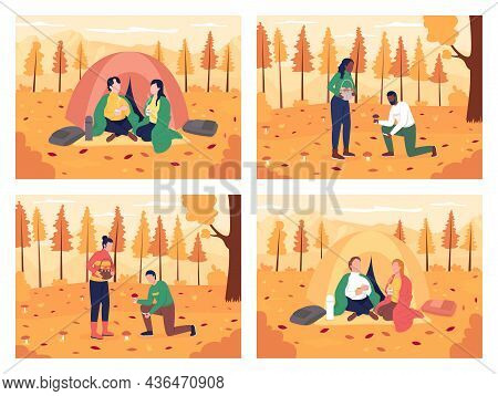 Couple Camping In Autumn Flat Color Vector Illustration Set. Partners Collecting Mushrooms In Woods.