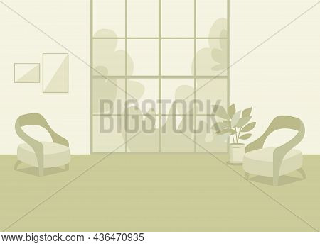 Green Home Interior Flat Color Vector Illustration. Cozy Living Room. Comfortable Lifestyle. Modern