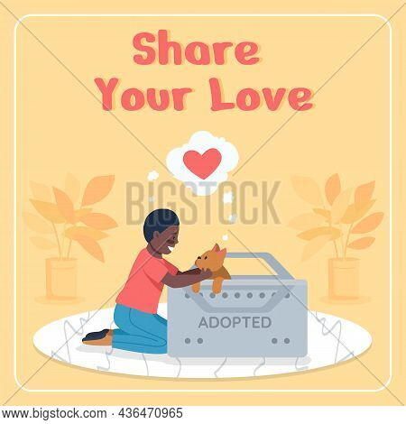 Adopting Dogs Social Media Post Mockup. Share Your Love Phrase. Web Banner Design Template. Rescuing