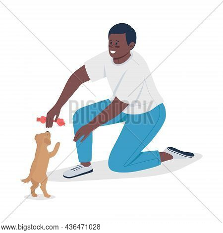 Owner Playing With Small Puppy Semi Flat Color Vector Character. Sitting Figure. Full Body Person On