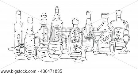 Group Of Bottles And Glasses Vodka, Champagne, Whiskey, Vermouth, Tequila, Martini, Rum, Liquor In H