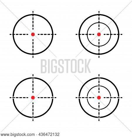 Set Of Sight Gun Vector Icon. Modern Target Illustration Of Crosshair Symbol For Web Design. Cross M