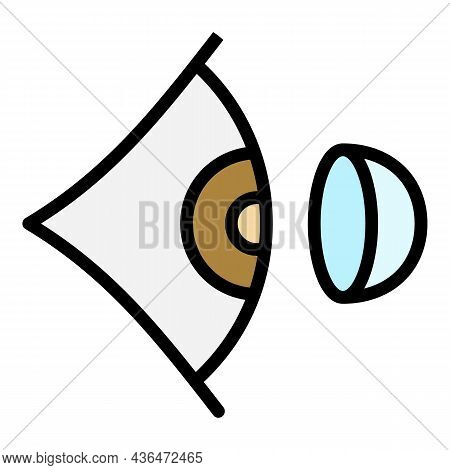 Contact Lens And Eye Icon. Outline Contact Lens And Eye Vector Icon Color Flat Isolated