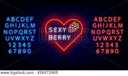 Sex Shop Flyer With Neon Sexy Berry Sign. Strawberry And Heart With Alphabet. Night Bright Promotion