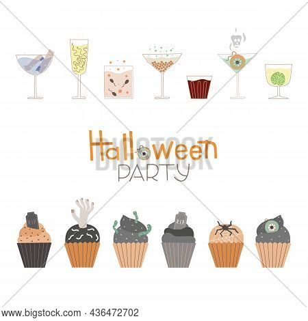 Vector Border For Halloween Party. Illustration With Treats, Horror Coctails And Decorated Cupcakes