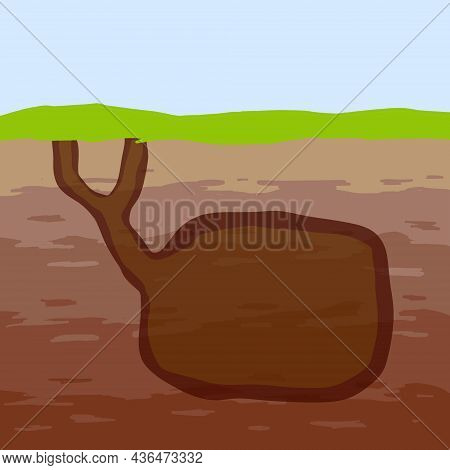 Animal Hole And Burrow. Scheme Of Hiding Insects And Rodents, Mice In Ground. Tunnels In Ground. Und