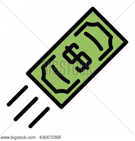 Flying Up Dollar Icon. Outline Flying Up Dollar Vector Icon Color Flat Isolated