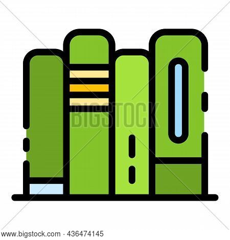 Books Stack Icon. Outline Books Stack Vector Icon Color Flat Isolated
