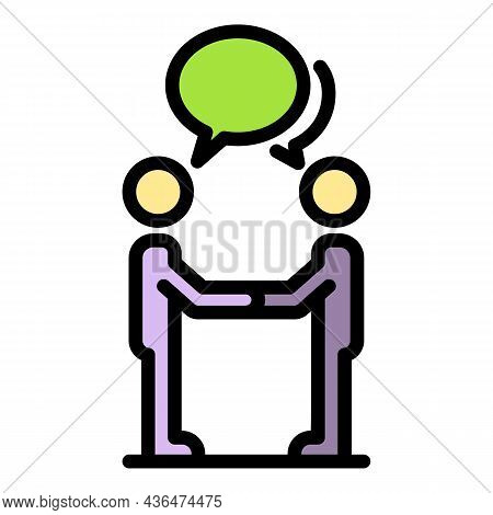 Student Discussion Icon. Outline Student Discussion Vector Icon Color Flat Isolated