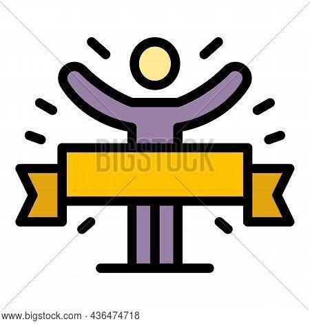 Finish Ribbon Marathon Icon. Outline Finish Ribbon Marathon Vector Icon Color Flat Isolated