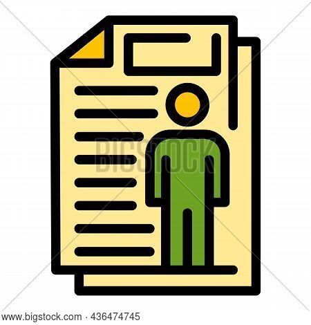 Student Cv Icon. Outline Student Cv Vector Icon Color Flat Isolated