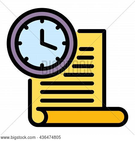 Time Student Paper Icon. Outline Time Student Paper Vector Icon Color Flat Isolated