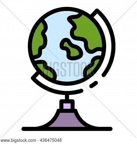 Geography Globe Icon. Outline Geography Globe Vector Icon Color Flat Isolated