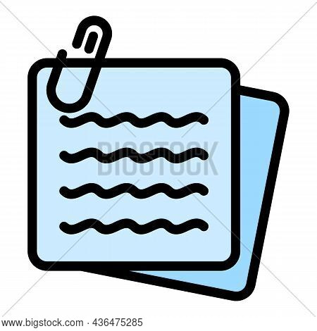 Note Paper Stick Icon. Outline Note Paper Stick Vector Icon Color Flat Isolated