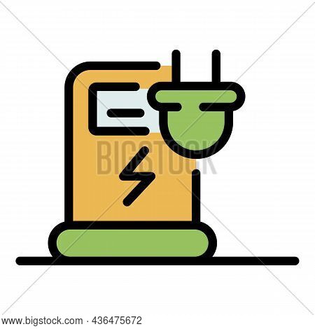 Electrical Refueling Station Icon. Outline Electrical Refueling Station Vector Icon Color Flat Isola