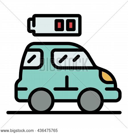Car Low Battery Icon. Outline Car Low Battery Vector Icon Color Flat Isolated