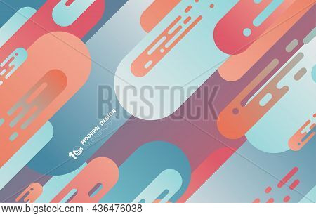 Abstract Gradient Color Design Rounded Lines Pattern Stripe Line Artwork Template. Decorative For Po