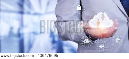 Man Use Laptop With Cloud Computing Diagram Show On Hand. Cloud Technology. Data Storage. Networking