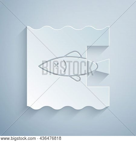 Paper Cut Stop Ocean Plastic Pollution Icon Isolated On Grey Background. Environment Protection Conc
