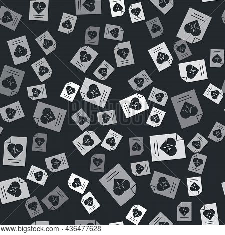 Grey Health Insurance Icon Isolated Seamless Pattern On Black Background. Patient Protection. Securi