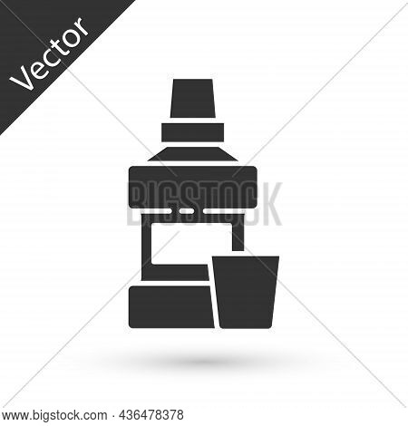 Grey Mouthwash Plastic Bottle And Glass Icon Isolated On White Background. Liquid For Rinsing Mouth.