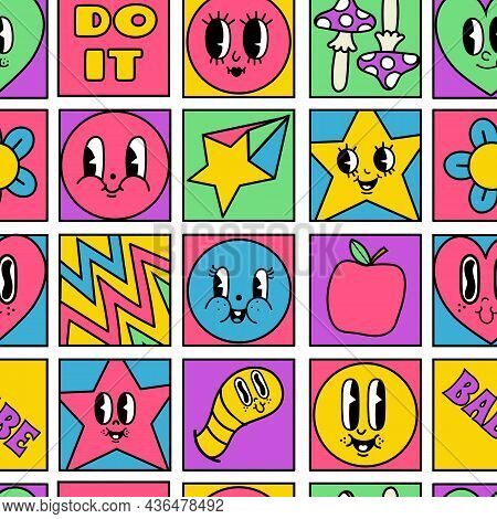 Funny Crazy Characters Seamless Squares Mosaic Pattern. Geometric Psychedelic Comic Shapes With 50s