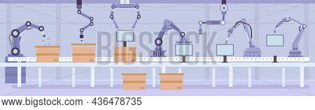 Flat Automated Robot Arms On Factory Assembly Line. Manufacture Conveyor With Products And Boxes. In