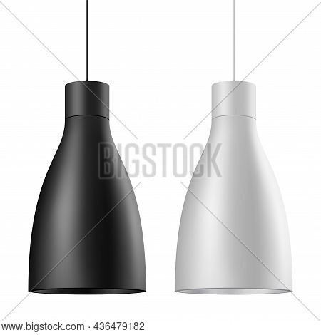 Elegant Ceiling Lamp Vector Set In Black, And White Colors.