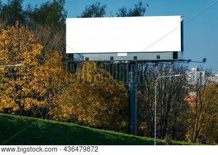 Mock Up. Big Blank Horizontal Billboard In The City. Retail, Outdoor Advertisement, Public Informati