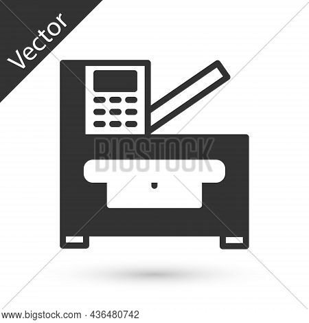 Grey Office Multifunction Printer Copy Machine Icon Isolated On White Background. Vector