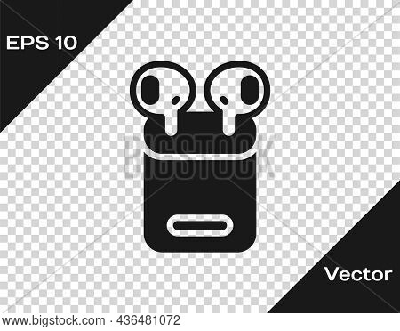 Black Air Headphones In Box Icon Isolated On Transparent Background. Holder Wireless In Case Earphon