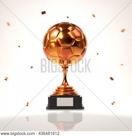 3D Bronze Trophy Cup With Confetti On White Background.