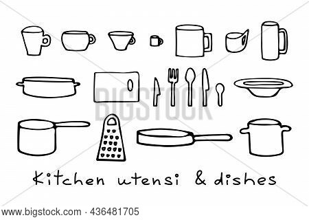 Vector Illustration Of Plate And Mugs, Knives And Spoons, Forks And Cutting Board, Pots And Pans, Gr
