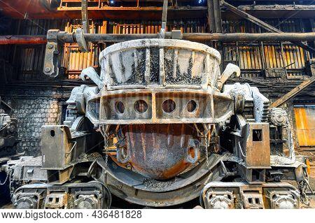 Large Metallurgical Slag Ladles On Railroad Trolleys.