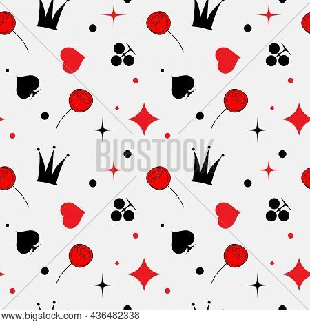 Seamless Pattern With Red And Black Card Suit Signs