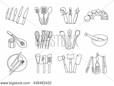 Line Kitchen Tools. Continuous Line Doodle Cooking Utensils, Hand Drawn Plate Knife Dish And Bowl Gr