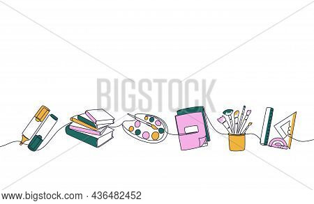 School Stationery. Trendy Continuous Line Marker Stack Of Books Palette Copybook Brushes And Rulers.
