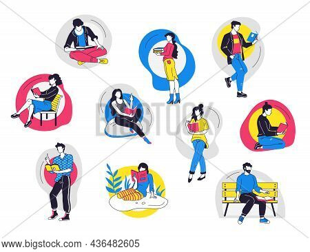 People Read Books. Cartoon Trendy Man And Woman Student Characters Reading, Home Learning And Litera